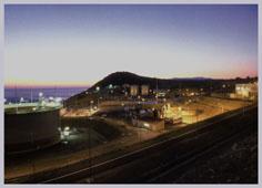 Coastal shipping terminal CPC night, Novorossiysk